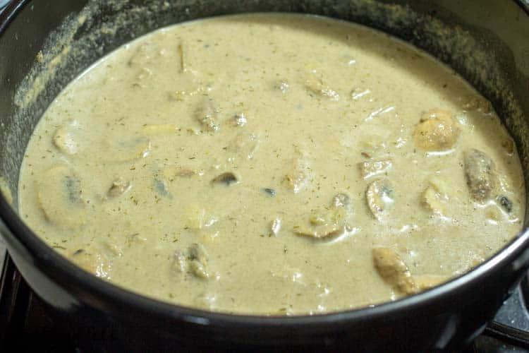 a large pot of homemade cream of mushroom soup