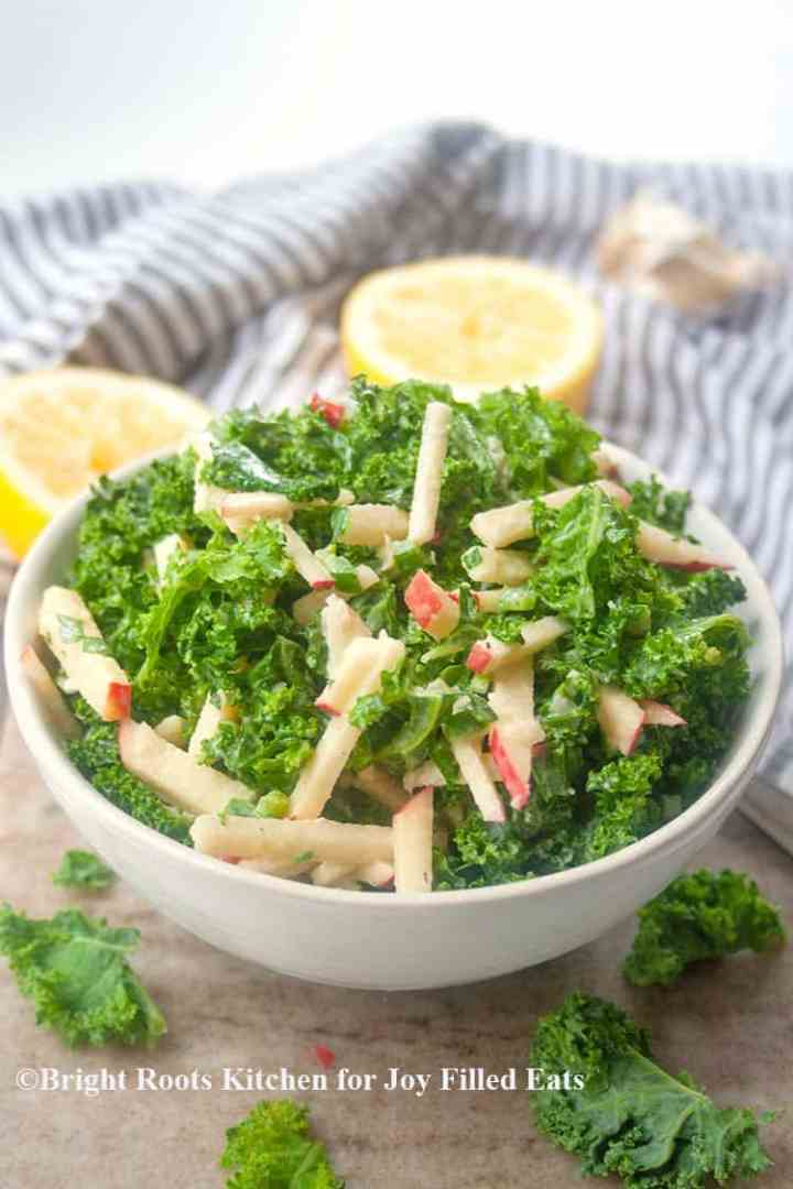 close up of the kale salad with tahini dressing