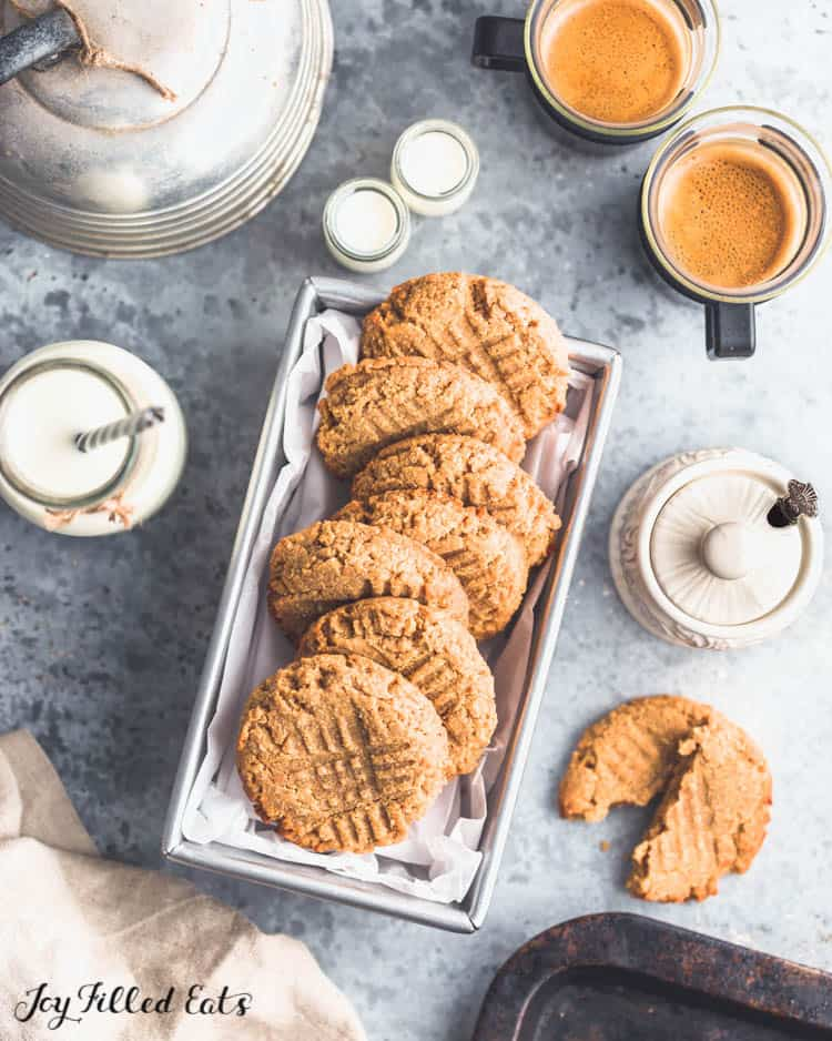 overhead shot of peanut butter cookies in a metal tray