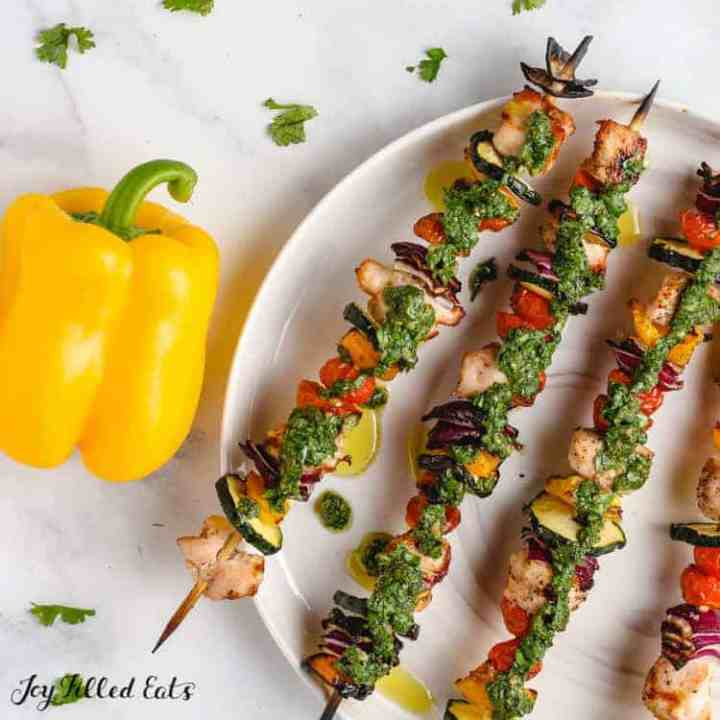 chimichurri chicken and vegetables on skewers