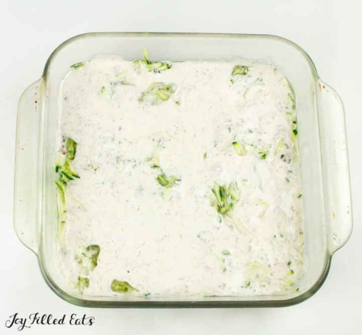 shredded zucchini topped with creamy egg mixture