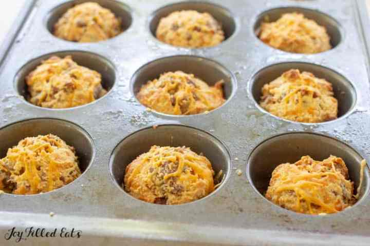 close up of the sausage muffins in the pan