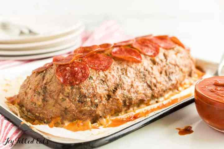 the baked cheese stuffed meatloaf topped with pepperoni