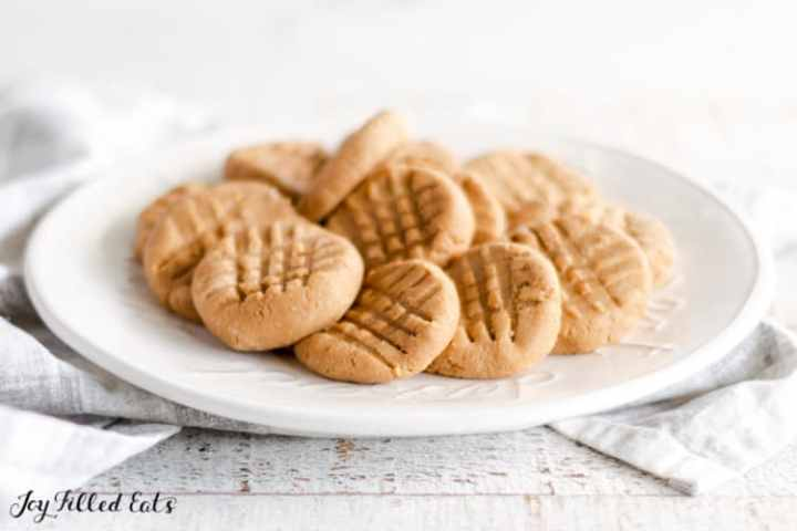a plate with no bake peanut butter cookies