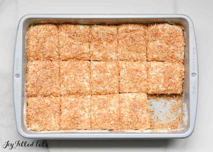 a 9 x 13 pan of Sugar Free Marshmallows with Toasted Coconut