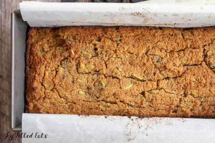 loaf pan with baked zucchini bread