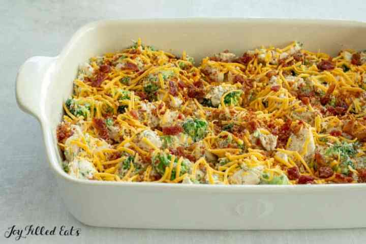 the prepared chicken bacon ranch casserole ready to go in the oven