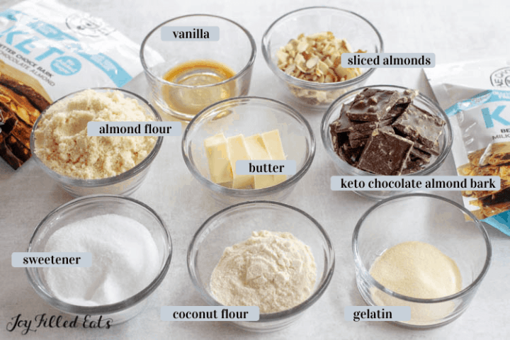 ingredients for the Almond Shortbread in glass bowls