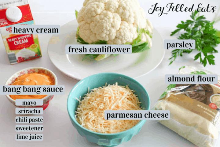 ingredients for the bang bang cauliflower