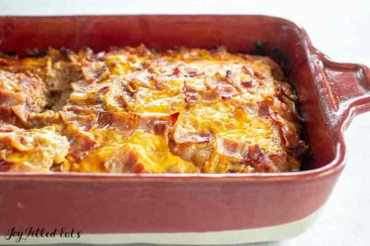 a casserole pan with barbecue meatloaf