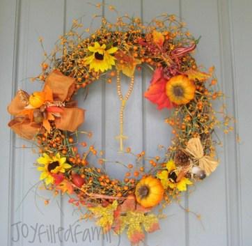 wreath on door JOY