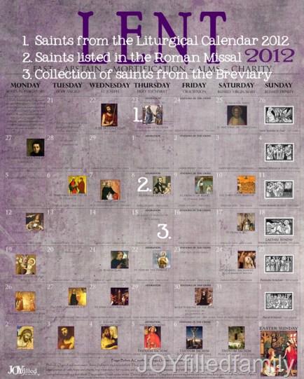 2012 Lenten Calendar - Old - KEY