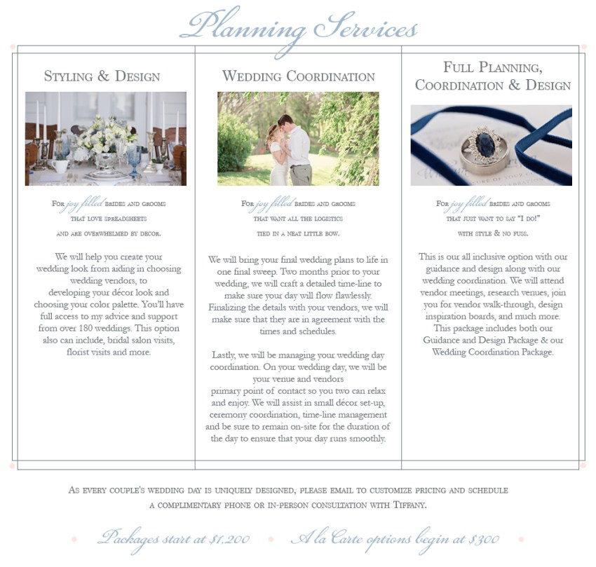 Joy Filled Occasions Services a Greensburg and Pittsburgh Wedding Planner