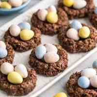 Healthy No-Bake Chocolate Peanut Butter Easter Nest Cookies