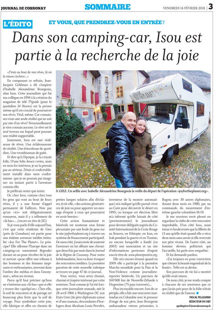 Petit journal, grande générosité! Merci au Journal de Cossonay!
