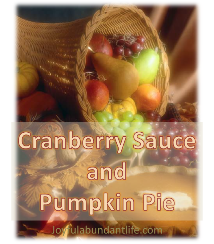 cranberry sauce and pumpkin pie