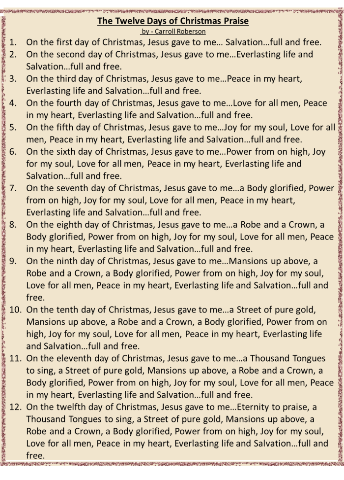 12 days of Christmas Praise Song to the Tune of the 12 Days of Christmas