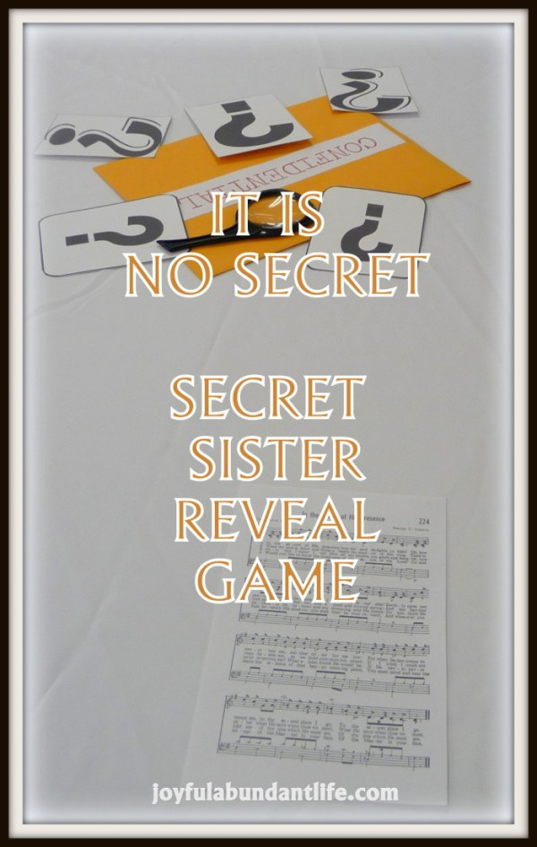 Secret Sister Reveal Game - It Is No Secret - Scavenger Hunt