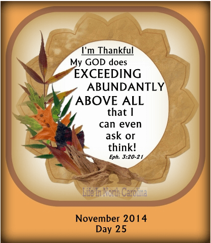 My God does exceeding abundantly above all that I can even ask or think! How amazing is that!