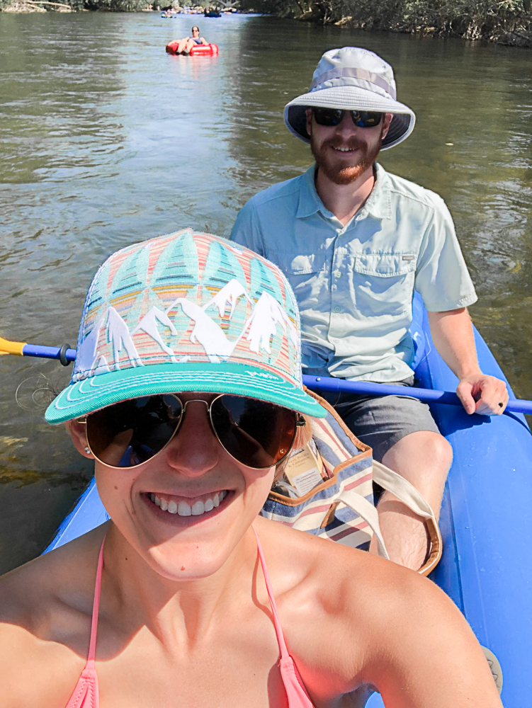 Floating in a raft down the river in Boise