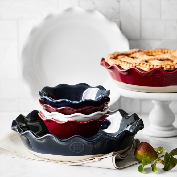 Stacks of ruffle pie plates for making healthy pie recipes for thanksgiving