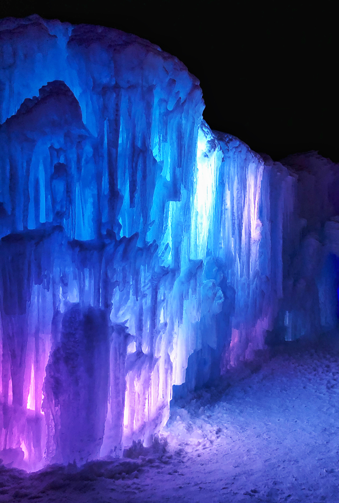 View of Dillon Ice Castle wall at night