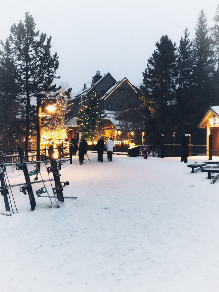 Walking around the village at Keystone Ski area in the snow