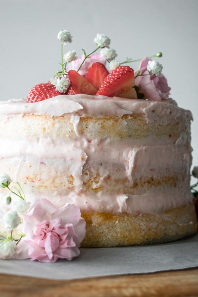 Rodelle vanilla bean layer cake on a cake stand
