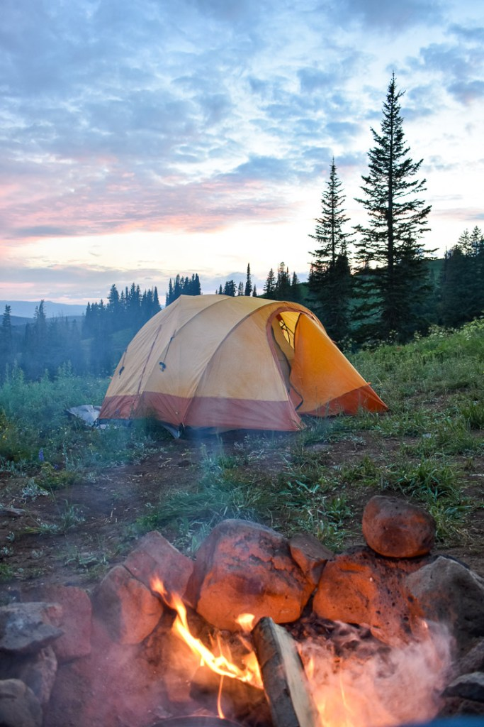 Tent and campfire set up on Rabbit Ears Pass in Colorado