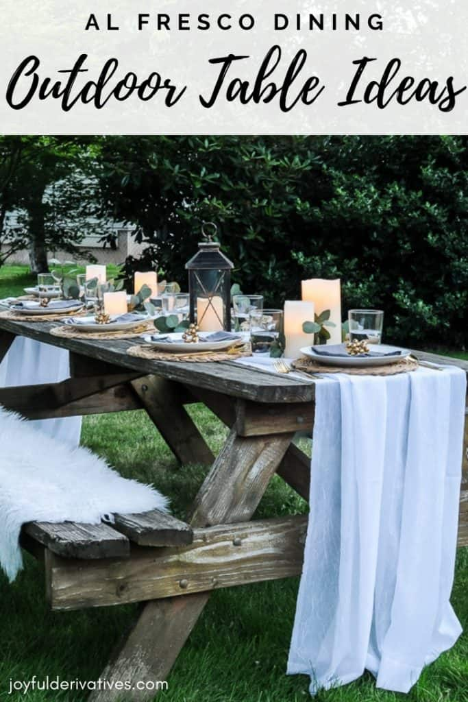 lovely outdoor table decor for a dinner