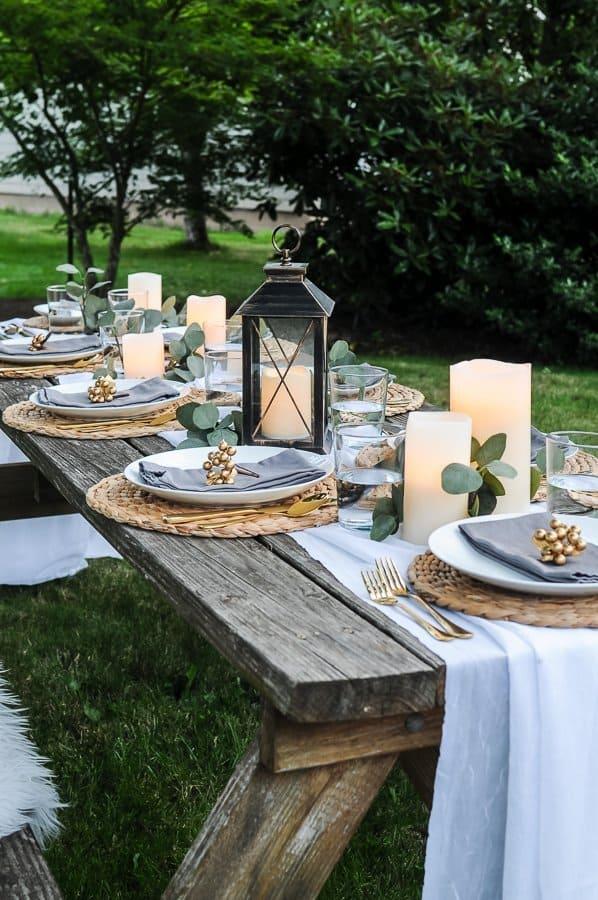 Lovely Outdoor Table Decor for a Dinner Al Fresco - Joyful ... on Backyard Table Decor id=27116