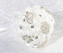 Bouquet de Cristal de Rosas Satinadas-Blanco