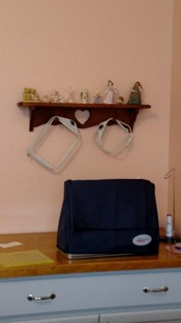 Shelf above my embroidery machine