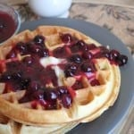 Blueberry Waffles with Blueberry Syrup