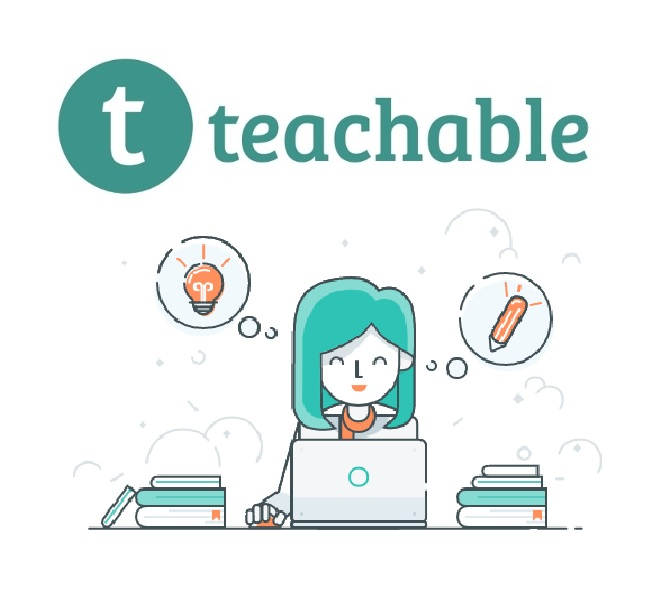 Teachable logo with desk and a lady