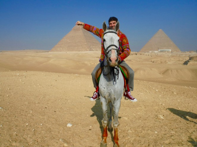 Michael pinching the top of the Khafre Pyramid!