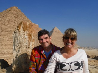 At the top of one of the Pyramids of Queens