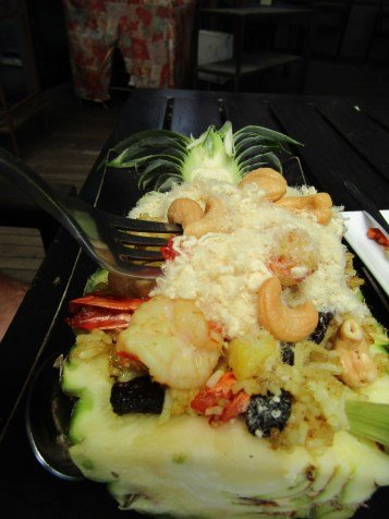 """Shrimp Fried Rice in a pineapple with weird white fluffy """"chicken???"""""""