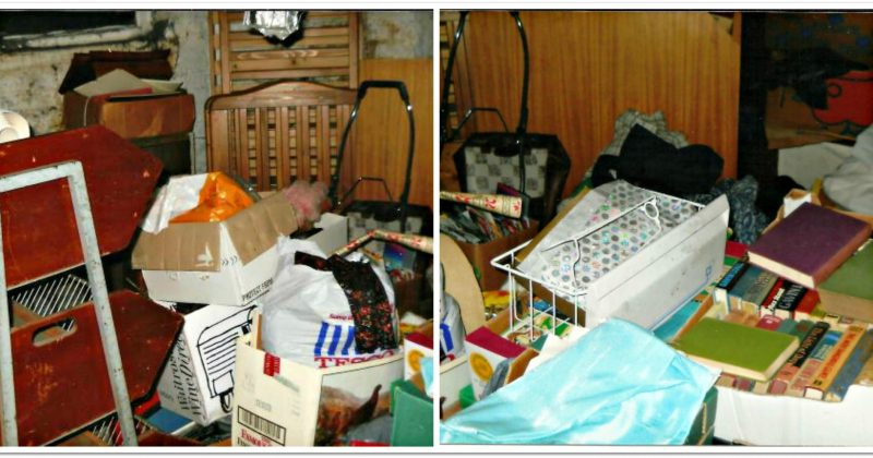 cluttered basement full of boxes and bags piled on top of each other