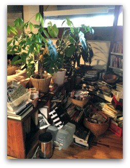 office desk and surrounding floor covered in clutter and two large houseplants