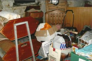 cluttered basement