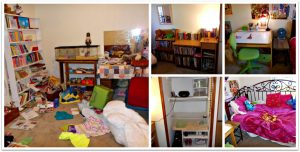 collage showing bedroom before and after decluttering and organizing