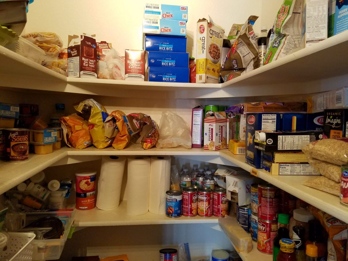 neatly organized pantry shelves