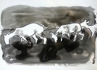 Herd, 2014, India ink on paper, 32x44 inches