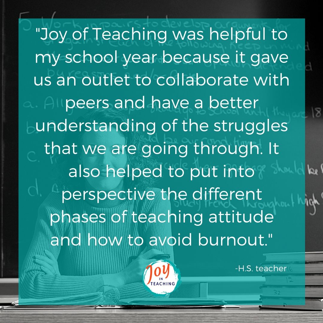 Joy in Teaching Teacher Testimonial