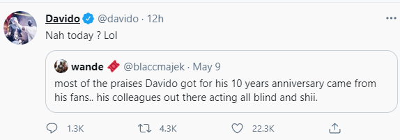 Davido reacts to observation that his colleagues refused to praise him on his 10th anniversary in the entertainment industry