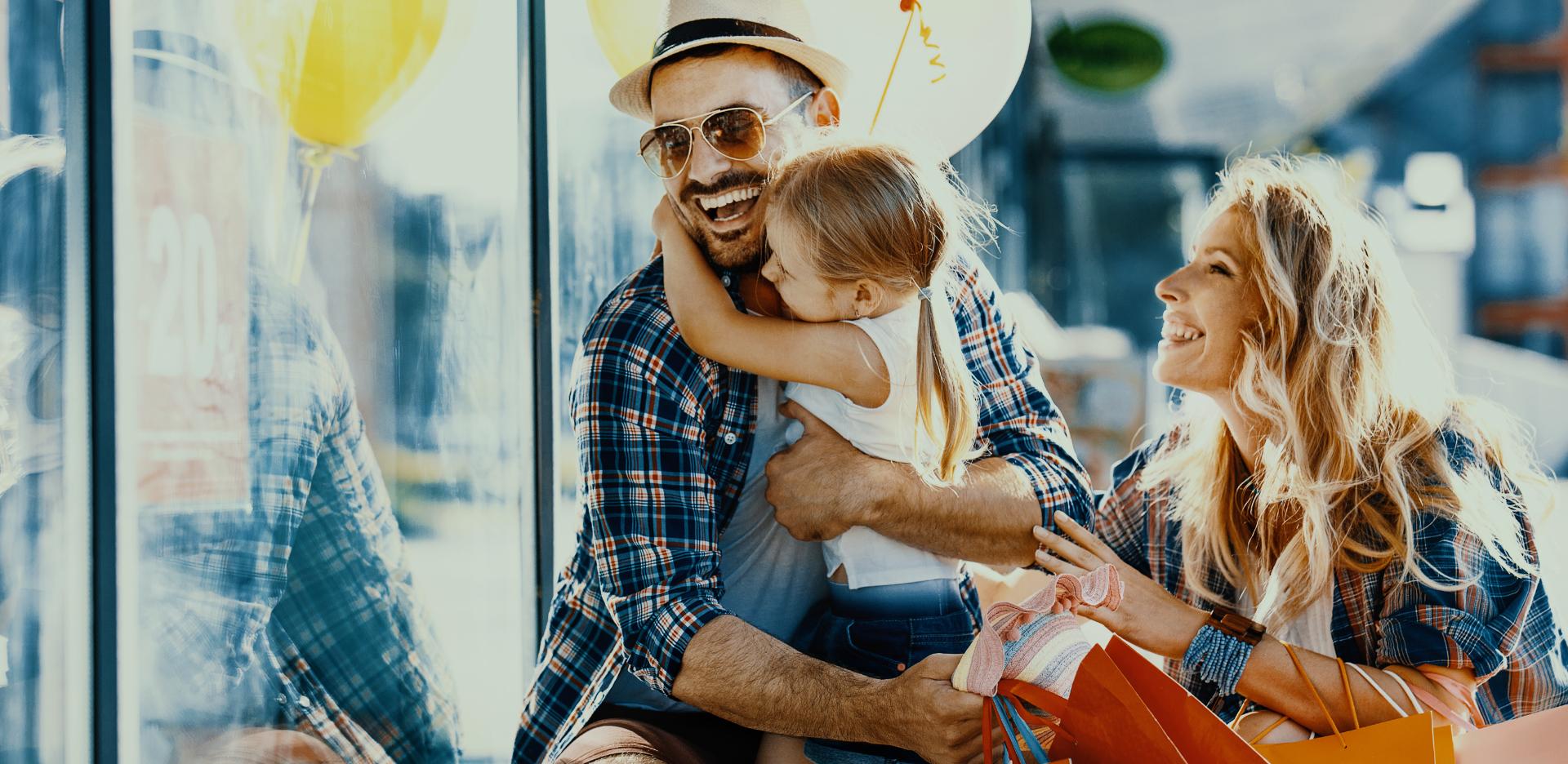 Happy shopping family