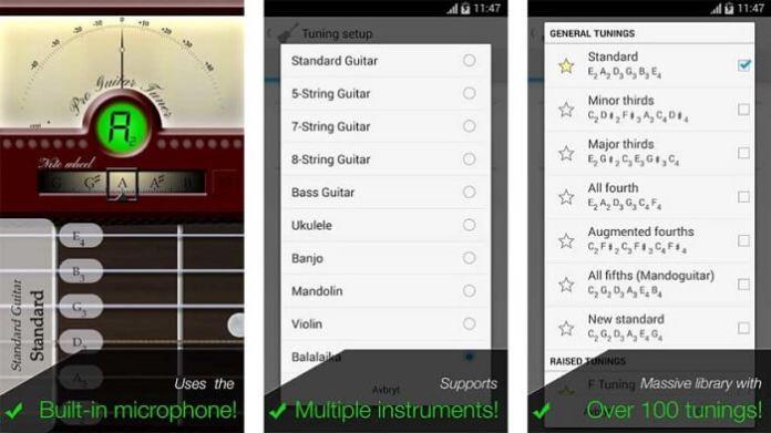 Interface de aplicativo Pro Guitar Tuner