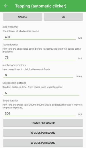 Melhores aplicativos do Auto Clicker para Android - configurações de toque