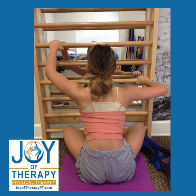 Patient doing core strengthening exercises in treatment exercise room.